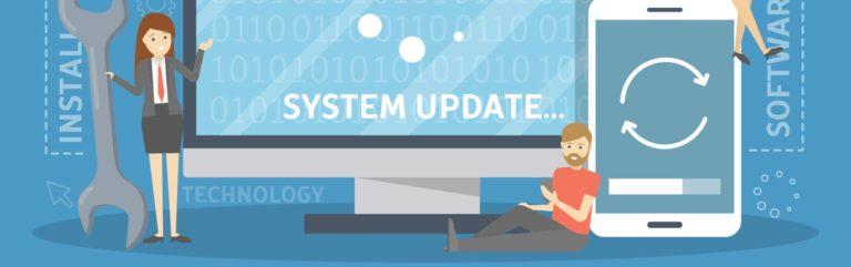 """stilisierte Grafik mt Notebook screen """"System Update"""""""